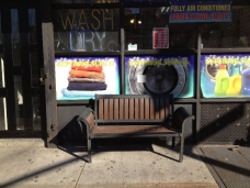 Shopfront Bench in front of Superior Suds Laundromat